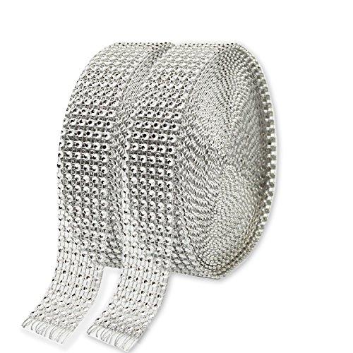 KAKOO 2er 6 Reihen 10 Yard Strassband Glitzband Acrylic Rhinestone Diamant Band Dekoband für Hochzeit Geburtstag Torte Gastgeschenkbox Verzierung Handwerk (Pailletten Unter $10)