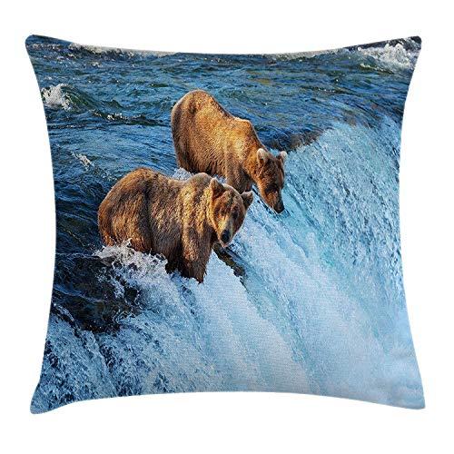 Zhengzho federa grizzly bear nel fiume stream pesca carnivoro salmone selvaggio dell'alaska decorativo per cuscino quadrato 45x45cm,marrone blu
