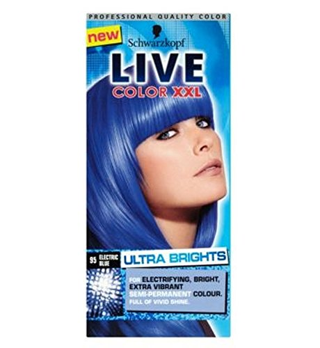 schwarzkopf color live xxl ultra brights 95 bleu lectrique de teintures capillaires bleu semi permanente - Coloration Permanente Bleu