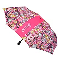 emoji Auto Open and Close Pattern Compact Umbrella - Pink, 42-Inch