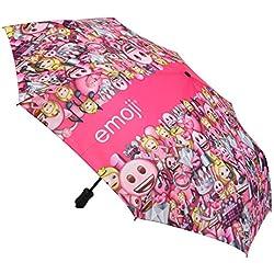 Emoji patrón de Auto Abrir y Cerrar Compacto Paraguas–Rosa, 106,7cm (42)
