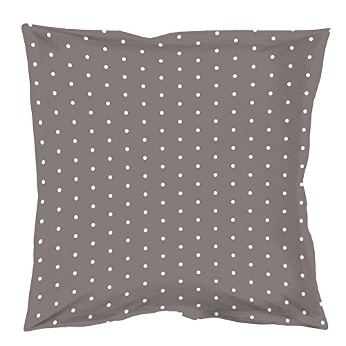 Douceur d'Intérieur PIXA Taie d'oreiller Volant Plat Coton Taupe/Blanc 63 x 63 cm