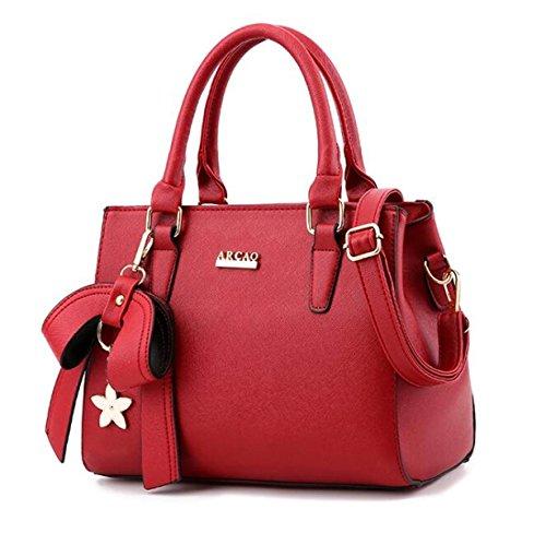 Damen Handtaschen PU Leder Messenger Bag Handtaschen Einfache Mode Handtasche Schultertasche Red
