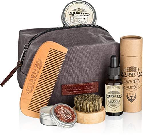 Bartpflegeset Männer hochwertig komplett von Wildwuchs Bartpflege - Bartpflege Set für gesundes Bartwachstum (5-teiliges Bart Set mit Bartöl, Bartwachs, Bartkamm, Bartbürste und Kulturbeutel)