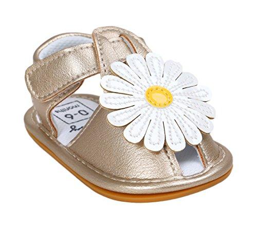 EOZY Baby Mädchen Leder Kinderschuhe Blume Prinzess Sandalen Lauflernschuhe Gold