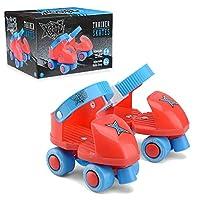 Xootz Beginner Trainer Skates, My First 4 Wheel Quad Roller Skates for Kids, Boys and Girls