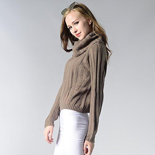 Donna Maglione Invernale Maglia Casuale,Collo Alto Maglione Lunghe Pullover Maglia Grigio