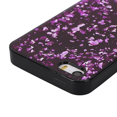 iPhone SE/5/5S Schale Glitter Case, iPhone SE Glitter Case, iPhone 5S Glitter Case, iPhone 5 Glitter Case, Moon mood® Ultra Slim Thin 3D Bling Strass Hülle Gliter Handytasche Kristall Schutzhülle für  Lila