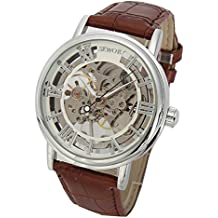 SEWOR - Reloj de pulsera mecánico transparente esqueletizado para hombre, con correa estilo vintage, color marrón