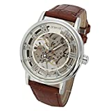 SEWOR - Reloj de pulsera mecánico transparente esqueletizado para hombre, con correa estilo vintage (Plata)