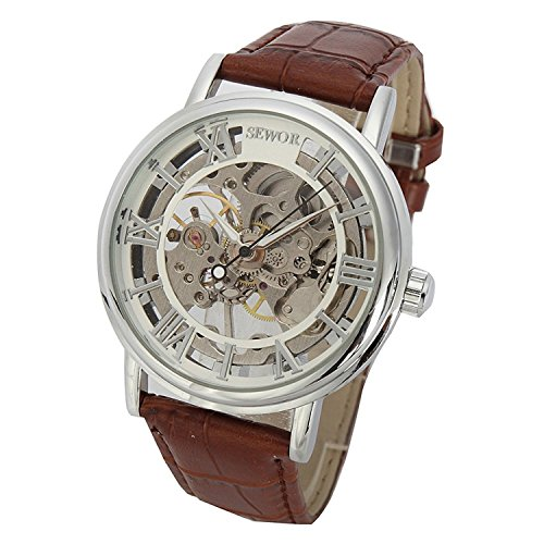 SEWOR Men's Mechanical Hand-Wind Skeleton Transparent Wrist Watch with Vintage Style (White)