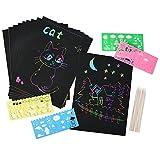 40 feuilles papier à gratter pour les enfants Rainbow Scratch Art papier papiers de peinture Magic Scratch conseils avec fond Scratch Art feuilles 19 * 26cm + 10 bois Stylus Sticks + 4 pochoirs avec 73 modèles (papier)