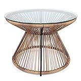 kultliving Retro Acapulco Tisch Beistelltisch Indoor & Outdoor Gestell Pulverbeschichtet; Farbe Natur Braun