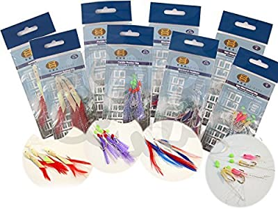 8 Packs Bass And Mackerel Herring Feathers Lure Lures Sea Boat Fishing Rigs from DNA