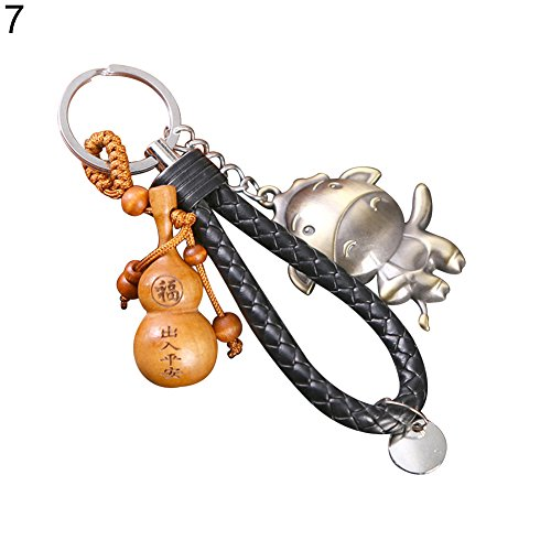 MAJGLGE Mahgle Chinesisches Tierzeichen Jahr Symbol Pfirsichholz Schlüsselanhänger Legierung Schlüsselanhänger, Tasche Dekoration - Pferd # -
