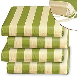 4x Coussins de chaise - Vert/Crème - coussins de siège canapé sofa confort