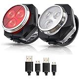 Hually LED Fietsver Lichting Set, USB Oplaadbare,4 Lichtmodi,Waterdichte Wit Fietslicht en Rood Achterlicht, 800mAh Batterij