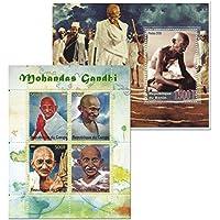 Gandhi indiano leader nazionale ed icona collezione di francobolli con 5 francobolli per collezionisti oltre 2 fogli
