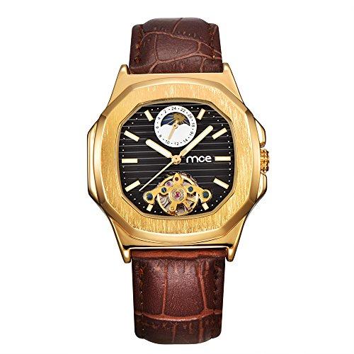 Herren Armbanduhr - Mond Sonne Phase Schwarzes Zifferblatt ManChDa Automatisch Mechanisch Uhr für Männer Braunes Leder Band + Geschenkbox