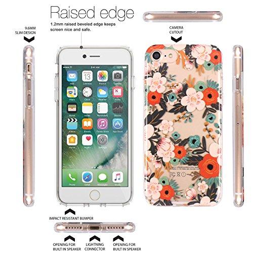 JIAXIUFEN TPU Gel Silicone Protettivo Skin Custodia Protettiva Shell Case Cover Per Apple iPhone 7 (2016) / iPhone 8 (2017) - Fiore Floreale Design Rose Flower Flower Colorful Blossom
