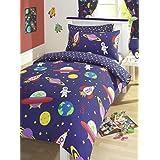 Blue Blast Off Space Man Rockets Reversible Junior Cot Bed Duvet Cover Set Inc Pillowcase by Kids Club