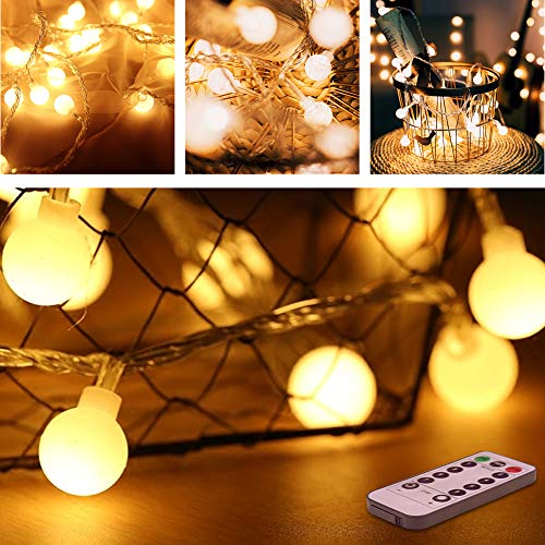 50 LED Globe Lichterkette Warmweiß 5M 8 Modi Fernbedienung Zeitschaltuhr 20 Clips Batteriebetriebene IP44 Wasserdicht, Ideal für Innen und Außen Weihnachtsdeko usw ()