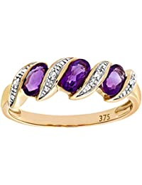 Revoni - 9ct Yellow Gold Diamond and Amethyst Eternity Ladies Ring