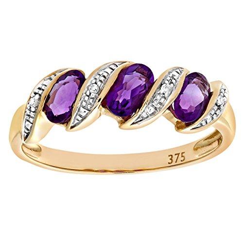 Naava Damen-Ring 9 K 375 Gelbgold Amethyst Diamant Gr. 48 (15.3) PR06270Y AM-I