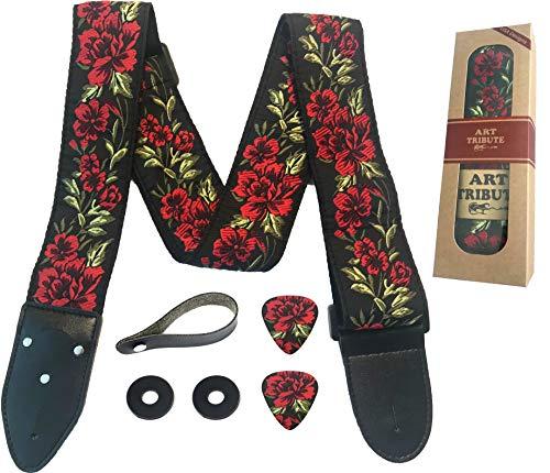 Gitarrengurt Rosen Vintage gewebt mit gratis Bonus 2 Gitarrenplektren + Schnallen + Gürtelknopf. für Bass-, Elektro- und Westerngitarre. Das beste Gitarrist-Geschenk ...