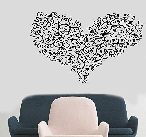 Wandaufkleber Schlafzimmer Blumen-Herz-geformte schöne Muster-Weinlese-Design-Abziehbild-Dekoration