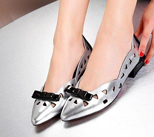 Casual Jelly Women OL pompe cuoio puntato Peep Toe Vintage Hollow respirabile Outsoles antisdrucciolevoli Scarpe casuali UE Size 34-40 Silver