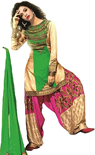 Exotic India Beige and Green Wedding Salwar Kameez Suit with Zari-Embroidery and...