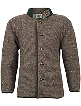Jungen Isar-Trachten Kinder Strick-Jacke hellbraun grün, Mode,