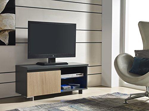 Mueble TV de 1 puerta en color Roble con LED