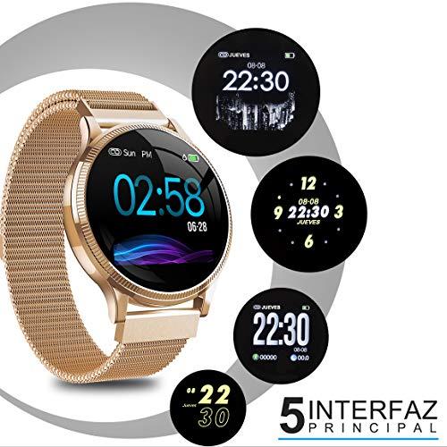 NAIXUES Smartwatch, Reloj Inteligente IP67 Pulsera Actividad Inteligente con Pulsómetro, Monitor de Sueño, Podómetro, Calorías Mujer Hombre para iOS y Android (Dorado) (no Hay Correa de Recambio)
