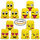Konsait Set di 12 Emoji Borse Sacca Sportiva sacche zaino Drawstring bag Sacche da palestra sacchettini per festa compleanno Bambini regalino