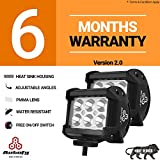 Autofy 6 LED Bar Light Universal Bike Car Fog Light - 6 MONTHS WARRANTY - Version 2 - Work Light Aluminum SMD LED Bar Light for Off Roading Bikes Cars SUV ATV - Fitting Inside – FREE ON/OFF SWITCH - Set of 2 (24W)