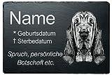 Personalisierte Gedenktafel Grabstein Grabplatte Hund Schiefer »Bluthund« wetterfeste Lasergravur, Wunschname + Datum + Trauerspruch direkt Hier auf Amazon eingeben, 20x30 cm, Schneller Versand