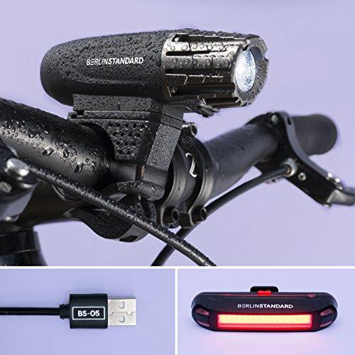 Preisvergleich Produktbild BerlinStandard USB wiederaufladbares Fahrradlicht LED Set / Fahrradbeleuchtung / Superhelle Frontlicht und Rücklicht / Einfache Montage am Rahmen / Max Sicherheit für Nachtfahrer / Universal Fit