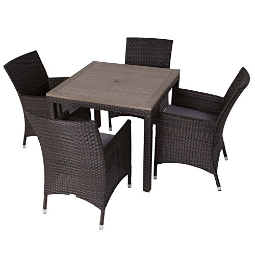 Alonso rattan 4 seater outdoor dining set with plaswood for 4 seater dining table and chairs