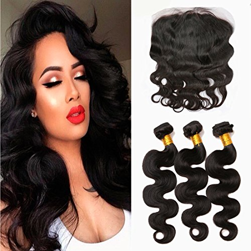 13X4 Ear To Ear Lace Frontal Closure With Hair Bundles Brazilian Virgin Hair 3 Bundles Body Wave With Closure For Women Natural Black Color (14 16 18+10 Frontal) -