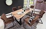 Sam Stilvoller Esszimmertisch Quarto 160 x 85 cm aus Akazie-Holz, Tisch mit Schwarz lackierten Beinen, Baum-Tisch mit naturbelassener Optik