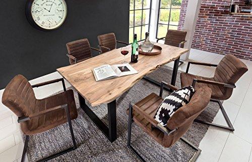 SAM Stilvoller Esszimmertisch Quarto 180 x 90 cm aus Akazie-Holz, Tisch mit schwarz lackierten Beinen, Baum-Tisch mit naturbelassener Optik