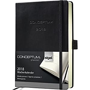 Sigel C1813 Weekly Diary 2018, approx. A6, hardcover, black, CONCEPTUM