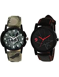 Xforia Boys Watch Army & Black Leather New Collection Analog Watches For Men Pack Of 2