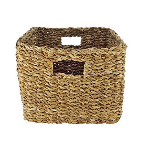 Flechtwaren Fairtrade SCHRANKKORB/REGALKORB/FLECHTKORB Eckig - SEEGRAS Natur - Fair Trade (Klein) (Seegras-boxen)