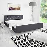 Estructura de cama 160x200 cm tela gris oscura