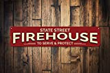 Feuerhaus Straßenname Schild Personalisierbar Standort Serve & Protect Fire Station Firefighter Man Cave Decor – Hochwertiges Aluminium 10,2 x 45,7 cm