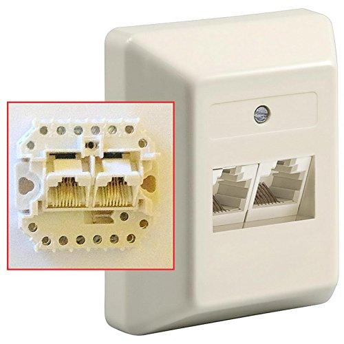 Universal Telefon Dose UAE 8/8(4)-8/8(4); Doppeldose für 2 Amtsleitungen; mit integriertem Abschlusswiderstand; Aufputz; mit Schraubanschluss