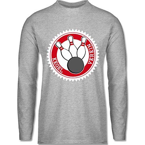 Bowling & Kegeln - Kegel Verein Badge Abzeichen - Longsleeve / langärmeliges T-Shirt für Herren Grau Meliert